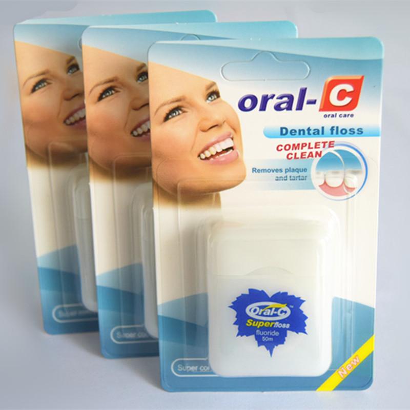 50 m PTFE teflon fio fio dental fio dental dispenser embalagem do cartão de papel DO OEM