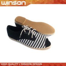 ladies wholesale china stripe flat alpargata casual canvas shoes