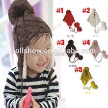 Wholesale Warm Fleece Earflap Knitted Winter Children Hat