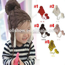 Wholesale Warm Fleece Earflap Wool Knitted Winter Children Hat