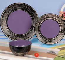 12pcs or 16pcs tree ring design custom ceramic purple dinner set