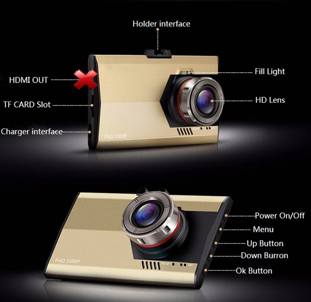 Date Super Mince Conception De Voiture Caméra DVR A8 Avec 3