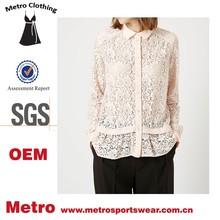 Latest Fashion custom made Ladies Lace Peplum Hem Blouse