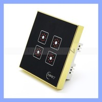 Black Tempered Glass Touch Panel Smart Touch Light Switch Support Remote Control