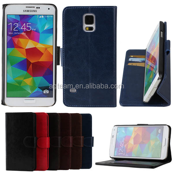 Crazy Horse 3 Credit Card Slots Leather Stand Case For Samsung Galaxy S5 i9600