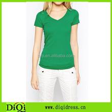 Women's very simple v-neck tshirts, green slim fit ladies Tees, teens plain t shirt