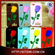Silicone Rose Mobile Phone Case For iphone 6, custom design silicon mobile cover, high quality cell phones cases