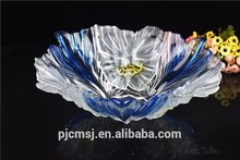 2015 cheap beautiful blue crystal fruit basket for wedding decoration gift