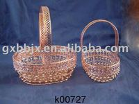 Egg shaped steel pearl and wire garden hanging basket