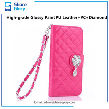 Clutch Cover Diamond Flip Glossy Leather Wallet Case+PC Shell for iphone 6 plus 01