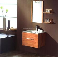 Tall mirror with under ceramic washbasin bathroom cabinet. double sink sliding door bathroom vanity (BP-04-73)