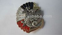 custom antique silver plating gold plating metal pin badge