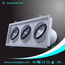 3*30w 90w cob led grille lamp with 385*135mm hole size