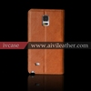 high quality real cow leather mobile phone cover for samsung galaxy note 4 folio wallet case