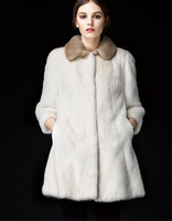 Fashion White Color Germany Mink Fur Long Sexy Women Coats