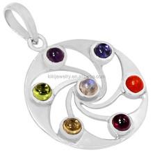 Latest Design Zinc Alloy Silver Plated Chakra Circle Cosmic Energy Pendant Wholesale