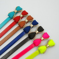 newest wholesale pu belts for women fashion lady belt with bow buckle factory