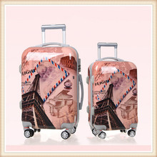 Sale sky travel luggage fashion Eiffel Tower printing airport luggage trolley with wheeled suitcase for 2015