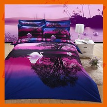 4pcs 3D Reactive Dye Purple Luxury Duvet King Set Bed Sheet 2 Pillowcase