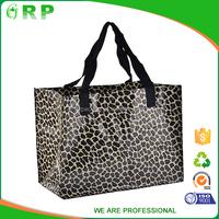 2015 new design leopard pp woven reusable shopping bag