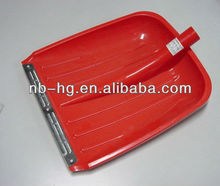 Plastic snow shovel head with steel strip protection