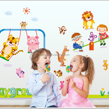 Special Playground cartoon animals and kids play together wallpaper Wall Sticker Wall Mural Home Decor Kids Room wall art AY892