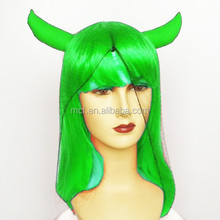 Masquerade costume party green halloween devil pirate wig with horns MCW-0152