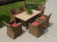 Excellent quality outdoor rattan garden set 1 table and 6 chairs