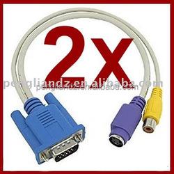 Vga To Hdm Cable 2PCS VGA SVGA TO TV RCA S Video Adapter Converter Cable scart to vga converter