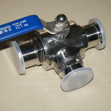 Stainless steel tri clamp T shape three way Ball valve