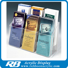2-Tiered Clear Acrylic Brochure Rack Holder 6 Pockets Fit 4 x 9 Pamphlets