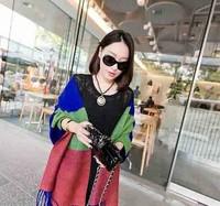 13852 Top Sale 2014 New Arrivals Women Autumn Winter Korean Style Thicken Warm Stripe Contrast Color Tassel Shawls