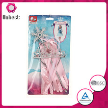Girls party wedding gloves festival kids crown&tiara costume accessories with magic wand