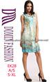 2014 nuevas señoras de la mangas de cuello redondo impresa vestido de gasa
