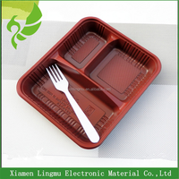 PP disposable commercial plastic food container with dividers used for resturant.
