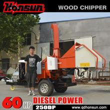 20-60HP diesel power hydraulic towed wood chipper shredder