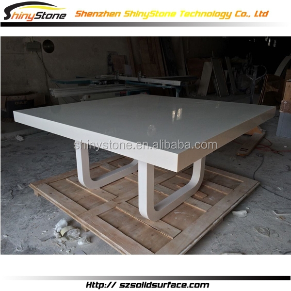 Glossy rectangular shape solid surface quartz stone top for Quartz top dining table