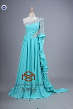 Brilliant Sexy Full beaded One-shoulder Chiffon Evening Party Dress with Beaded Long Sleeve HMY-E0022