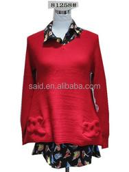 Lastest women thick woolen pullover lady sweater t shirt knitwear