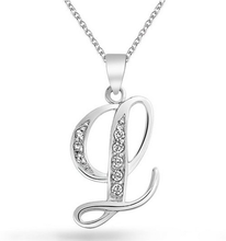 Factory direct zinc alloy silver plated initial letter crystal pendant wholesale necklace for girls