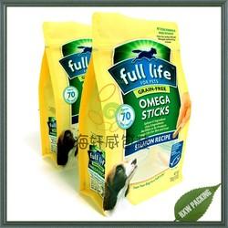 Flat bottom plastic pet food bag, plastic side gusset 500g dog treat bag with ziplock