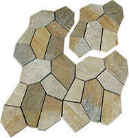 Outdoor random slate flagstone pattern with mesh backing