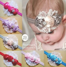baby girls 0-3 years rose design lace diamond headbands, can mix colors
