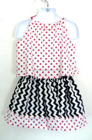 US. 4th July Outfit for Kids Newborn Baby national Day Clothing Set red Star Tank Top& black Chevron ruffle skirt Set