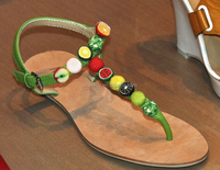 uneteco shoes accessory factory 2015 new style sandal ornament with fruits resins and decoration chain for lady shoes