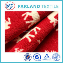 premium quality fleece plaid coral fabric with red bottom white deer for fashionable bathrobe