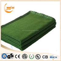 Super Soft 100% Wool Solid Color Anti-pilling Military Army Electric Blanket
