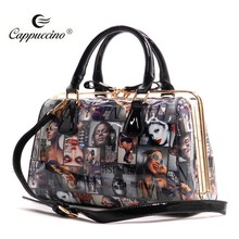 2015 New Designer Wholesale Magazine Cover Collage Frame Women Leather Fashion Handbag