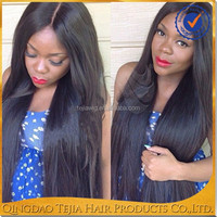 Wholesale cheap long silky straight glueless lace front human hair wig