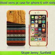 wood printing Pc hard case for iphone 6 plus 4.7 with card slots at back